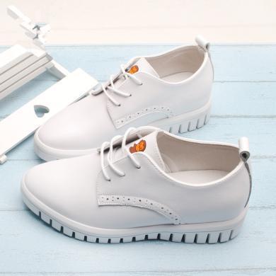 100KM猩猩猴 新款系帶小皮鞋英倫女單鞋松糕時尚厚底防滑pu休閑鞋