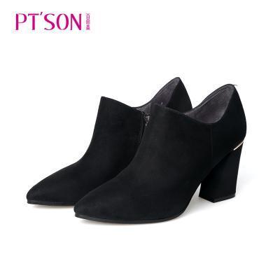 百田森 PYQ80809 尖頭高跟粗跟時尚深口女鞋休閑鞋