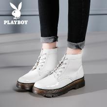 花花公子女鞋马丁靴女复古韩版百搭短筒女靴英伦学院风学生短靴潮女鞋G608750669q