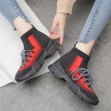 OKKO潮牌新款秋季针织套筒女鞋高帮袜子鞋潮百搭韩版休闲运动靴子短靴MX1318