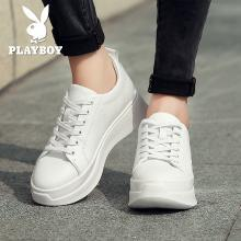 花花公子女鞋休闲鞋女松糕跟厚?#33258;?#21160;增高小白鞋板鞋L157730347T