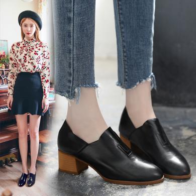 小皮鞋秋季新款女鞋子韩版百搭复古英伦秋鞋粗跟单鞋中跟LP1998-1