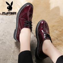 花花公子女鞋厚底休闲鞋女秋季新款漆皮系带单鞋布洛克雕花小皮鞋N117730417H