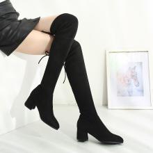 西瑞新款過膝長筒靴女過膝長靴瘦腿靴女靴單靴高跟粗跟MNA8516