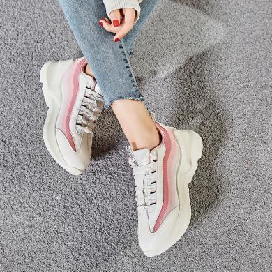 時尚潮鞋2019新款女鞋彩虹厚底內增高運動鞋低幫透氣休閑鞋GL-D07