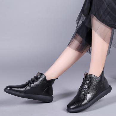 MIJI2019秋冬新款女鞋V型加绒保暖马丁靴女英伦风真皮女棉鞋LC-2599