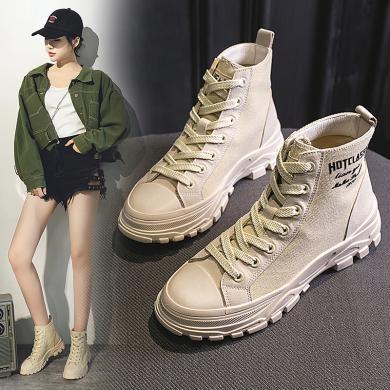 時尚潮鞋2019秋冬新款高幫帆布鞋女潮馬丁靴街頭英倫學生風短靴MS-MJ901