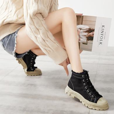 時尚潮鞋2019秋冬新款高幫帆布鞋女潮帥氣馬丁靴街頭英倫風短靴MS-M905