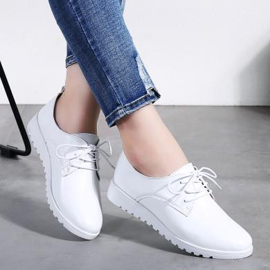 MIJI2019秋冬新款女鞋真皮板鞋女韩版小白鞋系带单鞋百搭潮流鞋子LC-9935