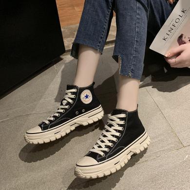 MIJI2019秋冬新款女鞋ins經典爆款帆布鞋高幫厚底板鞋戶外休閑女鞋NRJ-F73