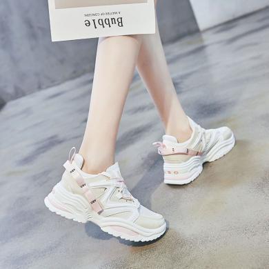 時尚潮鞋2019新款女鞋透氣網布運動休閑鞋厚底增高鞋個性系帶老爹鞋GL-180816-1