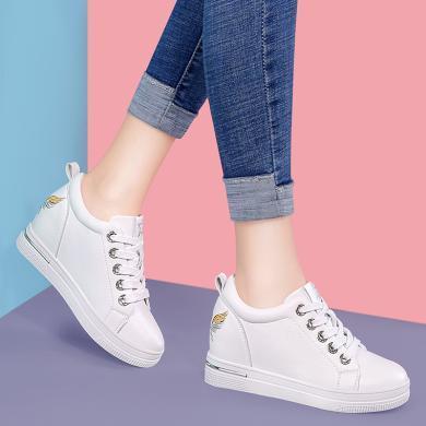 搭歌2019春季新款韓版百搭低幫內增高系帶休閑學生女鞋MO9110