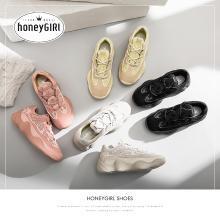 honeyGIRL网红2019春季女鞋新款超火百搭老爹鞋女增高厚底运动鞋HG18SP345XT901