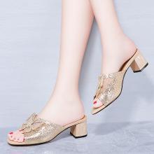 搭歌2019夏季新款凉拖鞋时尚粗跟休闲甜美水钻女式凉鞋MO9247