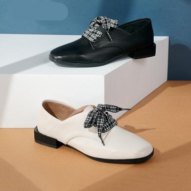 百田森PYQ19030方頭方根低跟綁帶甜美小皮鞋休閑鞋