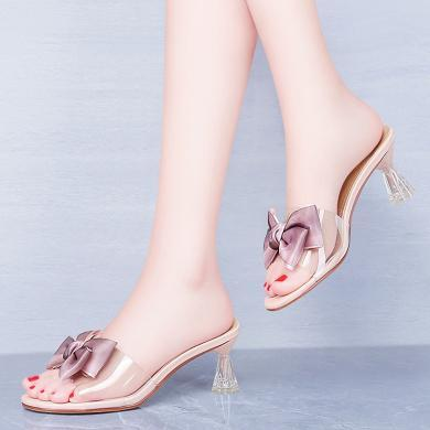 搭歌2019夏季新款甜美女蝴蝶結尖頭細跟高跟涼拖女鞋MO9202