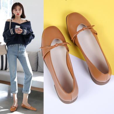 西瑞新款单鞋韩版玛丽珍鞋休闲女鞋粗跟中跟方头浅口复古鞋子MM1901