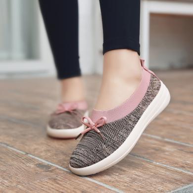 春季新款2019網布透氣運動休閑鞋平底襪子鞋蝴蝶飛織休閑女鞋SD-A1803