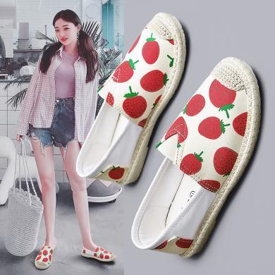 MIJI女鞋2019春夏新款帆布鞋平底休閑鞋網紅布鞋漁夫鞋潮鞋學生鞋YG-YZ901