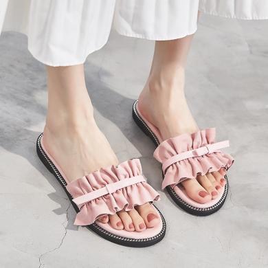 SIMIER新款溫柔風拖鞋女時尚夏季平底涼拖女JM1965