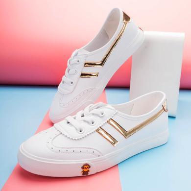 100KM2019新款百搭淺口套腳小白鞋英倫風休閑平底單鞋女鞋子潮
