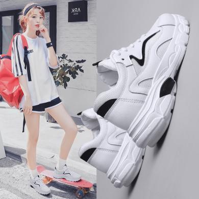 女2019春季新款小白鞋網紅女鞋韓版老爹鞋運動鞋女單鞋學生鞋網鞋