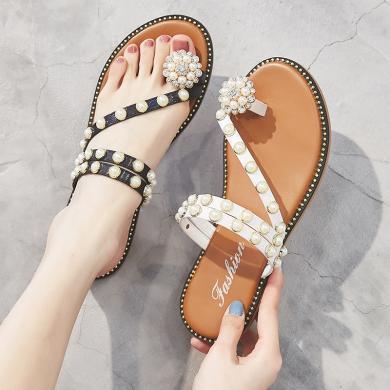 SIMIER新款水鉆珍珠平底拖鞋度假風仙女鞋夏季涼鞋女JM1969