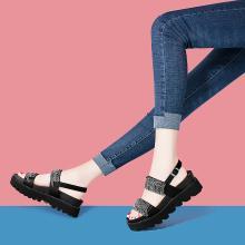 搭歌2019夏季新款休閑運動時尚涼鞋厚底坡跟露趾羅馬女鞋MO9226