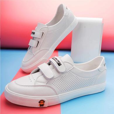 100KM猩猩猴2020女潮流字母魔術貼低幫休閑板鞋女鞋