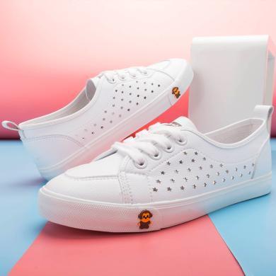 100KM2020新款百搭鏤空透氣懶人小白鞋板鞋休閑學生單鞋女鞋子