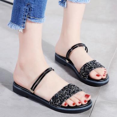 西瑞涼鞋女時尚夏季坡跟兩穿涼鞋水鉆裝飾女鞋溫柔鞋MN-S1586