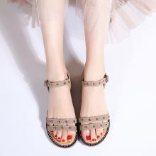 新款铆钉星星底凉鞋温柔风低跟一字带凉鞋度假风女鞋MN9601