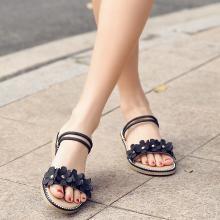 新款坡跟花朵凉鞋民族风低跟两穿凉鞋度假风女鞋MN3911