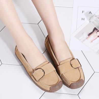 MIJI2019新款女鞋大碼反絨皮豆豆鞋蝸牛鞋休閑皮鞋平底媽媽鞋AG7038
