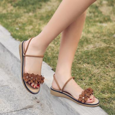 新款坡跟花朵涼鞋民族風低跟兩穿涼鞋度假風女鞋MN3911