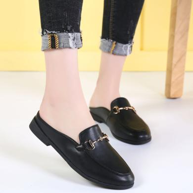 MIJI2019夏季新款女鞋半拖休闲懒人鞋低跟平底单鞋女士小皮鞋AG1910