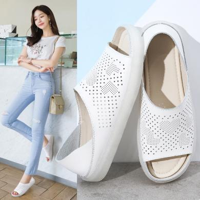 MIJI女鞋魚嘴透氣涼鞋軟底孕婦鞋雕花兩穿涼鞋拖鞋LC6276