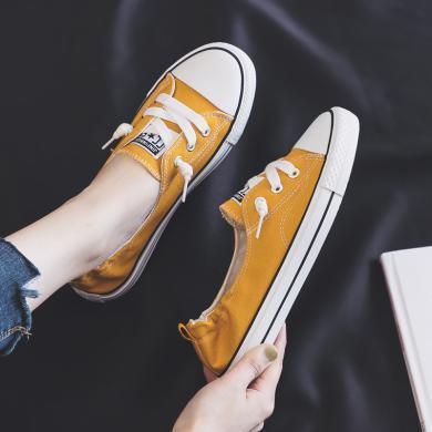 搭歌2019新款浅口帆布鞋女鞋子懒人板鞋小白鞋休闲布鞋K8051