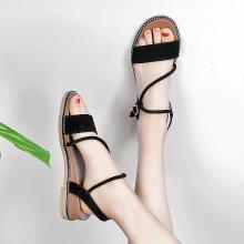 MIJI女鞋网红仙女风真皮女凉鞋复古女罗马反绒皮坡跟凉鞋女LC5801