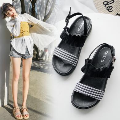OKKO2019夏季新款女鞋走秀ins涼鞋女仙女風休閑沙灘鞋GT1518