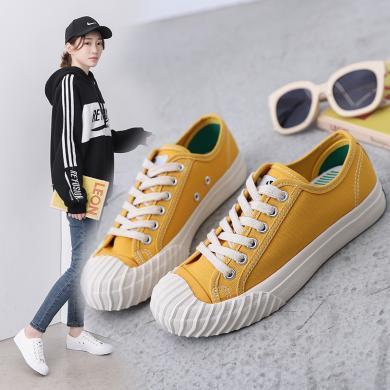 MIJI女鞋学生潮鞋春夏帆布鞋流行时尚休闲运动女鞋网红饼干鞋LD18001