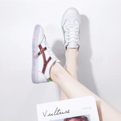 女鞋四季韓版彩色果凍鞋智熏鞋網紅鞋ins潮鞋板鞋休閑鞋  YGN-8211