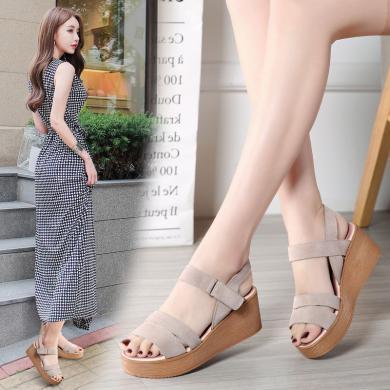 夏季新款反絨皮涼鞋女士厚底防水臺一字帶搭扣露趾涼鞋LS8200