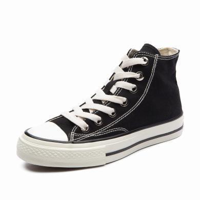 人本黑色高帮帆布鞋女韩版ulzzang潮1970s学生百搭平底休闲板鞋女