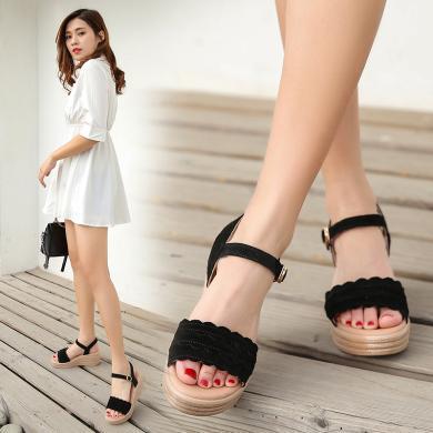夏季新款波浪皮涼鞋女士厚底防水臺搭扣帶露趾涼鞋LS-G11