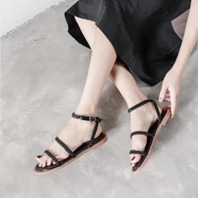 OKKOins夏季新款女鞋編織麻繩個性涼鞋舒適百塔沙灘鞋女皮帶扣平底GT3819-4