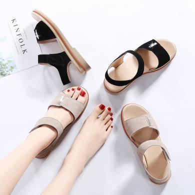 夏季新款反絨皮涼鞋女士厚底魔術貼露趾涼鞋LS622