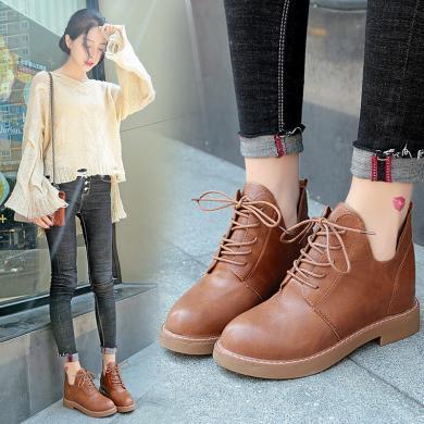新款內增高單靴學院風系帶女短靴小馬丁靴DY168(預售7天)