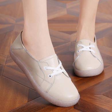 新款真皮小白鞋時尚低幫休閑女鞋系帶女鞋MN857-2