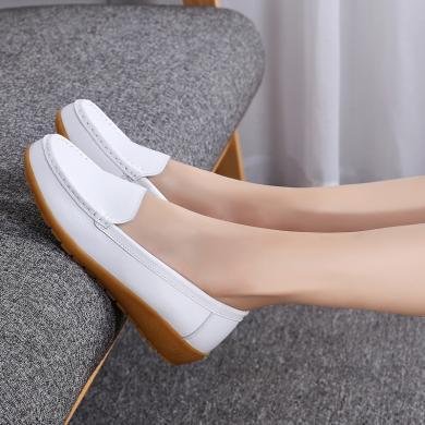 新款大码真皮一脚蹬平底女鞋坡跟套脚单鞋女MN552